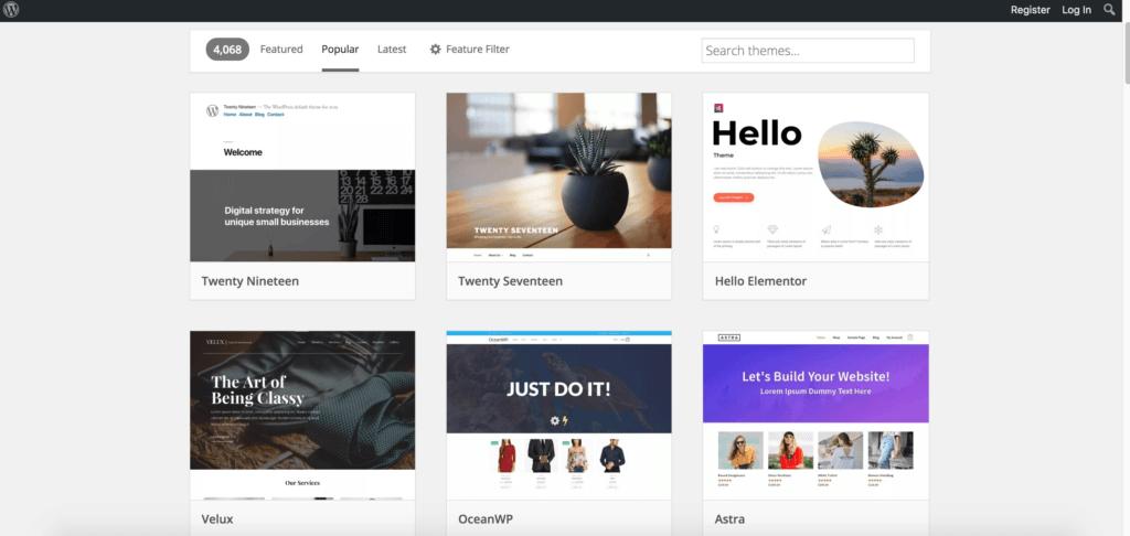 在Google搜尋「WordPress Themes」也可以找到超級多資源