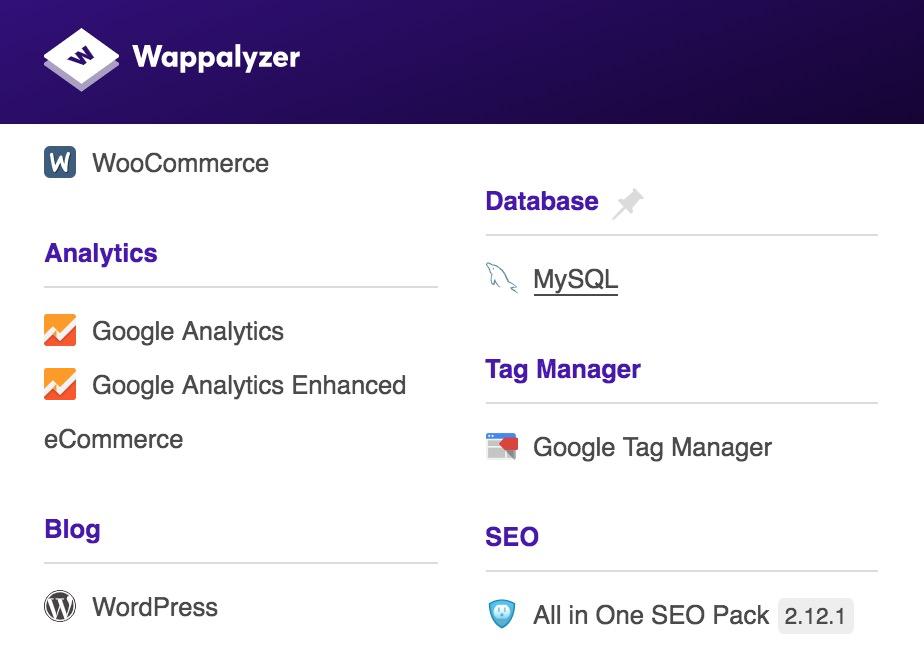 這個工具可以看對方網站使用的系統,以及安裝的套件。以數位行銷的角度來說,主要看的大重點就兩個,Google Analytics和Google Tag Manager,前者還包含了Google Analytics Enhanced eCommerce,即加強型電子商務功能。