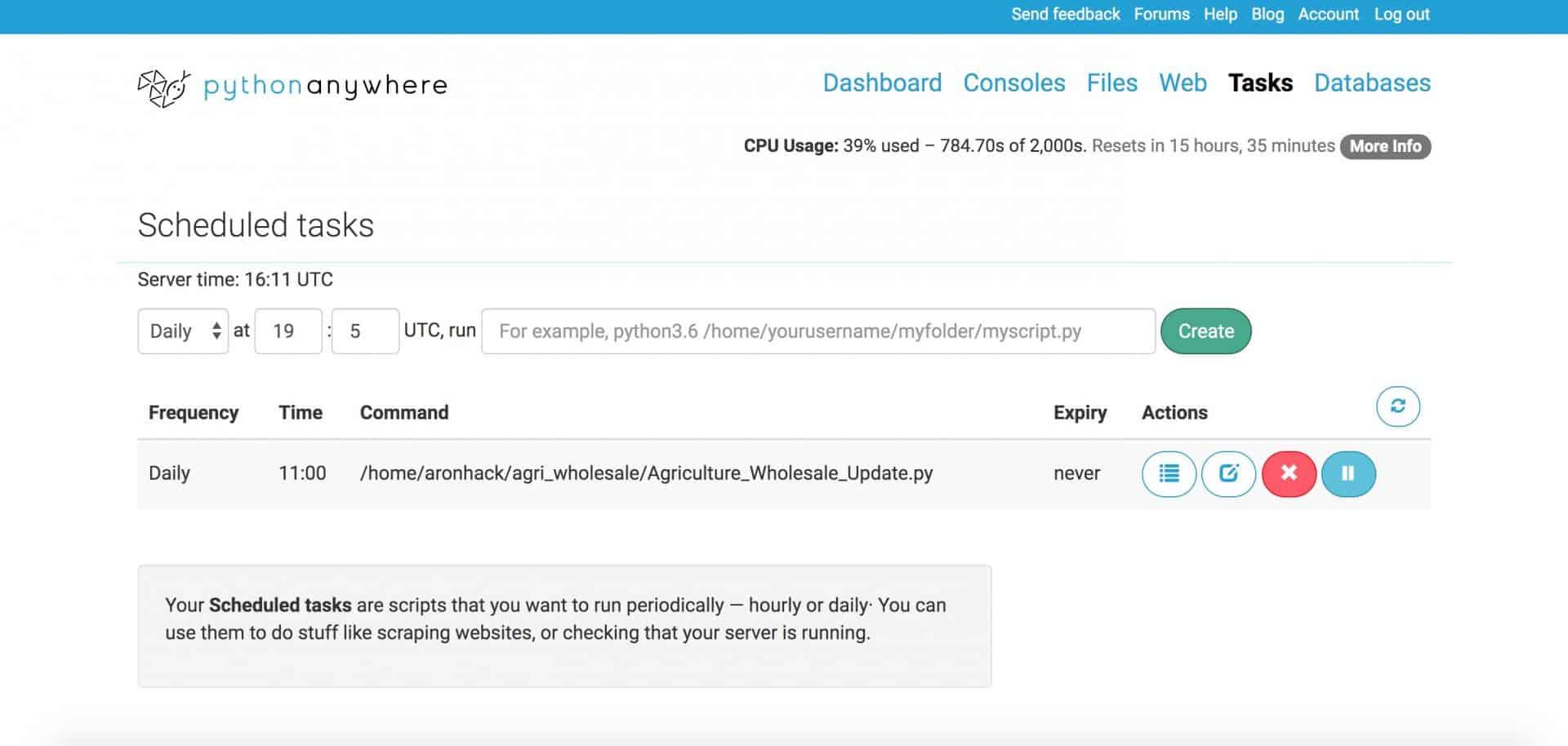 pythonanywhere - Task Update Database failed